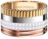 Boucheron Quatre Large 18K Gold & White Ceramic Ring, Size 54