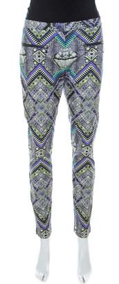 Matthew Williamson Multicolor Abstract Print Cotton Zip Detail Pants M