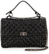 Valentino Rockstud Matelasse Large Shoulder Bag, Black