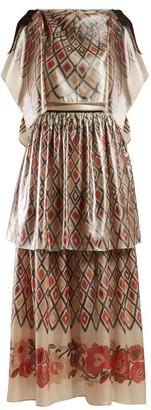 Fendi Caped Diamond-print Silk Gown - Womens - Beige Multi