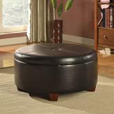 Asstd National Brand Brenton Faux-Leather Round Storage Ottoman