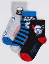 Marks and Spencer 3 Pairs of Cotton Rich Star WarsTM Socks (1-3 Years)