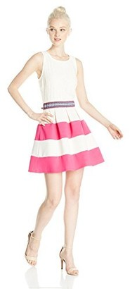 Speechless Women's Lace to Stripe Fit and Flare