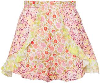 Zimmermann Goldie Spliced Ruffle-trimmed Floral-print Linen Shorts