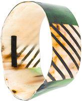 Marni painted buffalo horn cuff