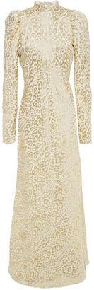 Temperley London Sunset Gathered Metallic Silk-blend Leopard-jacquard Maxi Dress