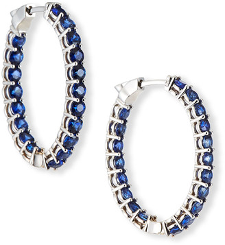 NM Diamond Collection 18k White Gold Medium Blue Sapphire Hoop Earrings