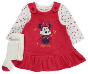 Disney George Minnie Mouse Pinafore Dress Top and Tights Outfit