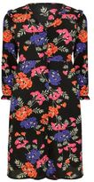 Yours Clothing YoursClothing Plus Size Womens Floral V-Neck Button Up Midi Dress Frill Detail