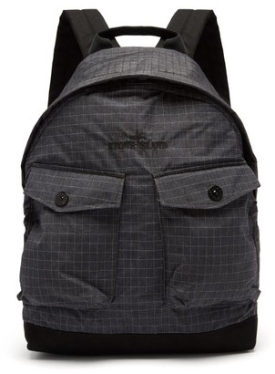 Stone Island Logo-embroidered Reflective-ripstop Backpack - Black