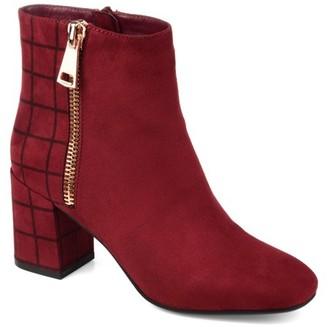 Brinley Co. Womens Two-tone Block Heel Bootie