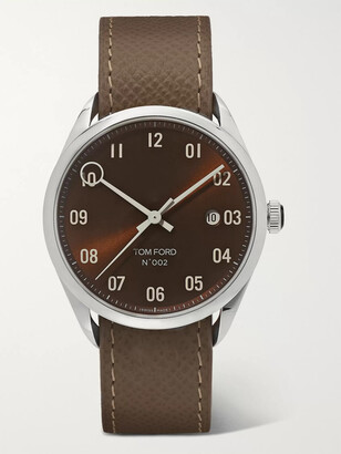 Tom Ford Timepieces 002 40mm Stainless Steel And Pebble-Grain Leather Watch