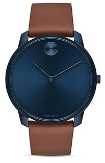 Movado Bold Thin Leather Strap Watch, 42mm