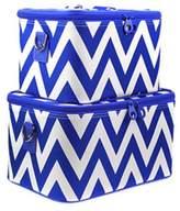 Chevron Print 2 Piece Train Case Luggage Set Toiletry Cosmetic Makeup Bag (Dark Blue) by scarlettsbags