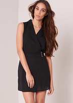 Missy Empire Lexi Black Blazer Style Buckle Detail Sleeveless Playsuit