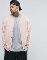 Asos Oversized Jersey MA1 Bomber Jacket With Military Woven Pocket