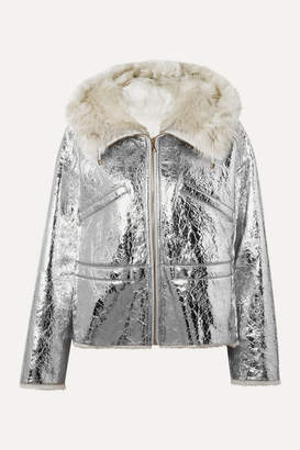Yves Salomon Shearling-lined Metallic Crinkled-leather Hooded Jacket - Silver