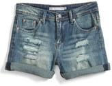 Tractr Girl's Girlfriend Roll Cuff Denim Shorts