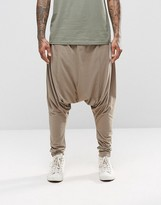 Asos Extreme Drop Crotch Joggers In Lightweight Fabric In Beige