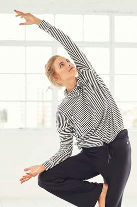 Next Womens Black/White Stripe Cowl Neck Long Sleeve T-Shirt - Black