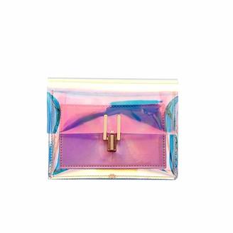 BESTOYARD Transparent Handbag Colorful Chain Bag Rainbow Laser Purses Clear Jelly Mini Bag for Women (Pink)