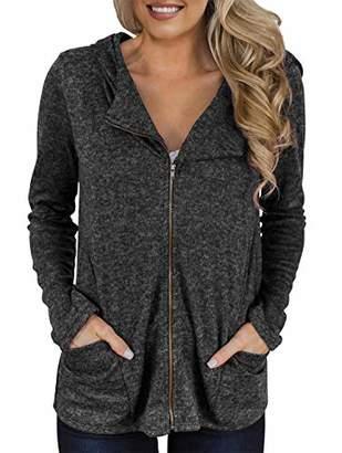 KIRUNDO Women's Zipper Sweatshirt Jacket with Hood Long Sleeves Full Length Zip Front Pockets Coat (