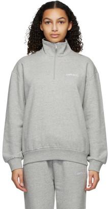Carhartt Work In Progress Grey Typeface Highneck Zip-Up Sweatshirt