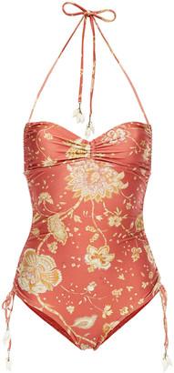 Zimmermann Veneto Ruched Floral-print Halterneck Swimsuit