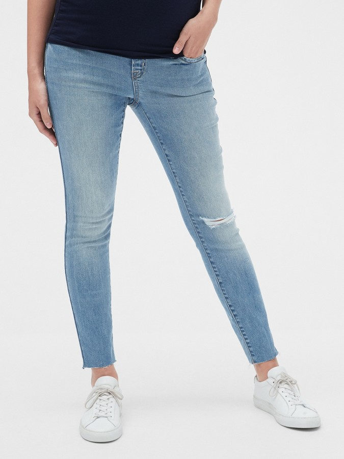 Gap Maternity Soft Wear Comfort Panel True Skinny Jeans with Distressed Detail