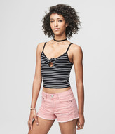 Prince & Fox Striped Tie Front Bodycon Cropped Top
