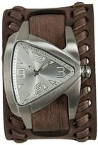 Nemesis Men's Quartz Stainless Steel and Leather Casual Watch, Color:Brown (Model: BVDB011S)