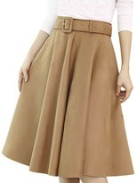 MFrannie Women Retro Suede A Line Slimming Pleated Long Skirt M