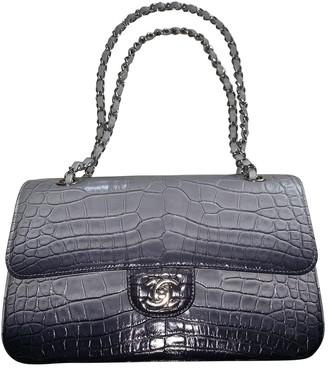Chanel Timeless/Classique Grey Crocodile Handbags