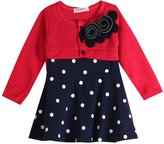 Moore Little Girls Dresses Flower Bow Polka Dot Long Sleeve Skirt Party Princess Dress