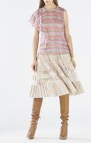 BCBGMAXAZRIA Matalin Asymmetrical Ruffle Dotted Plaid Top
