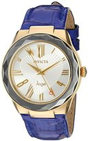 Invicta Women's 'Angel' Quartz Stainless Steel and Leather Casual Watch, Color:Blue (Model: 22536)