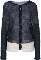 Y's sheer creased stripe hem cardigan
