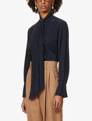 Chloé Monogrammed pussy-bow silk-crepe shirt
