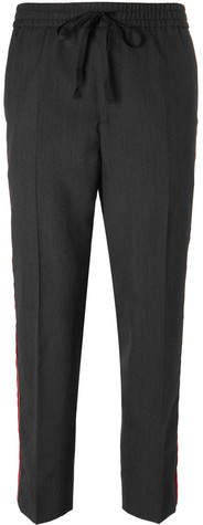 Gucci Cropped Tapered Velvet-Trimmed Wool Trousers