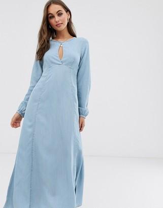 Asos Design DESIGN soft denim maxi dress with keyhole neck-Blue