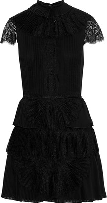 Alice + Olivia Rosetta Lace-paneled Pleated Tiered Organza Mini Dress