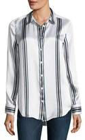 Equipment Essential Long-Sleeve Striped Silk Blouse