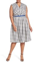 Ellen Tracy Belted Gingham Print Surplice Fit & Flare Dress (Plus Size)