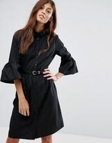 New Look Flute Sleeve Shirt Dress