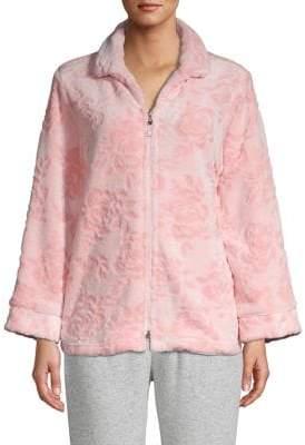 Miss Elaine Floral Fleece Front-Zip Bed Jacket
