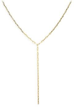 Aqua Sterling Paper Clip Y Necklace, 18 - 100% Exclusive