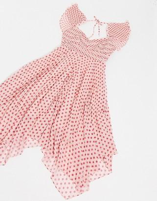 Talulah Power of Love polkadot mini dress in fuscia spot
