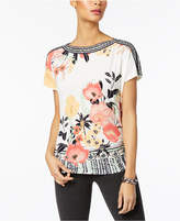 JM Collection Petite Floral-Print Ruched Tunic, Created for Macy's