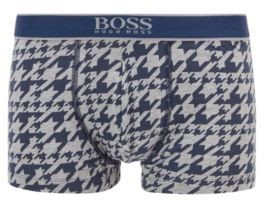 HUGO BOSS Stretch Cotton Trunks With All Over Print - Light Green