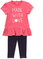 Bon Bebe Pink & White 'Made with Love' Dress & Jeggings - Infant